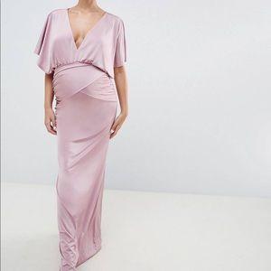 Flounce London Maternity Cape Sleeve Maxi Dress